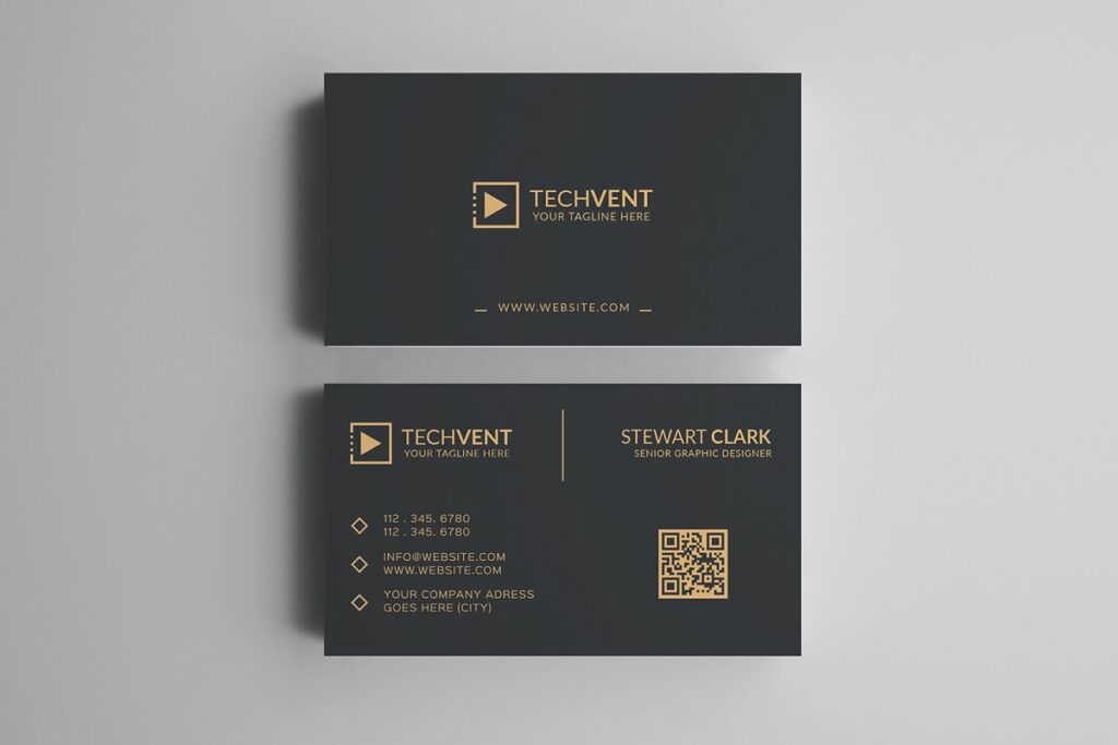 Black Color Two Business Card With Grey Background