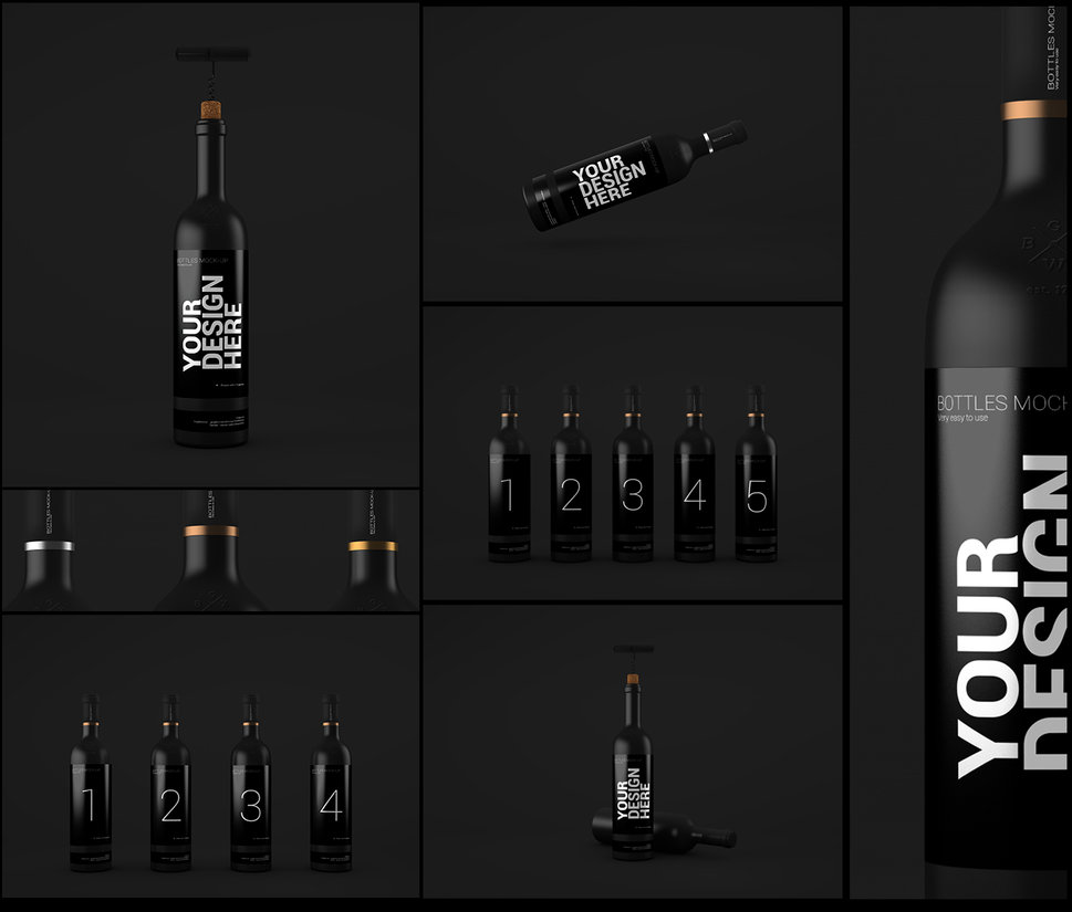 Black Glossy Bottle Label Design Mockup