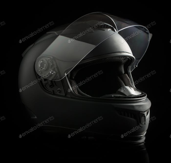 Black Helmet Mockup And Deep Background Mockup