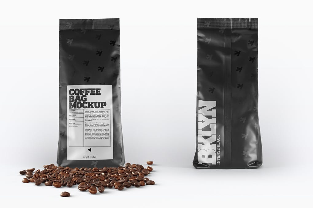 Black Photorealistic Coffee Packaging Bag Mockup