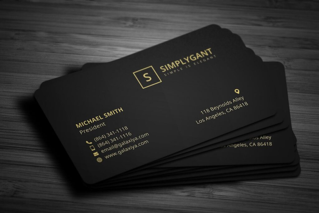 Black Round Corner Business Card With Golden Text