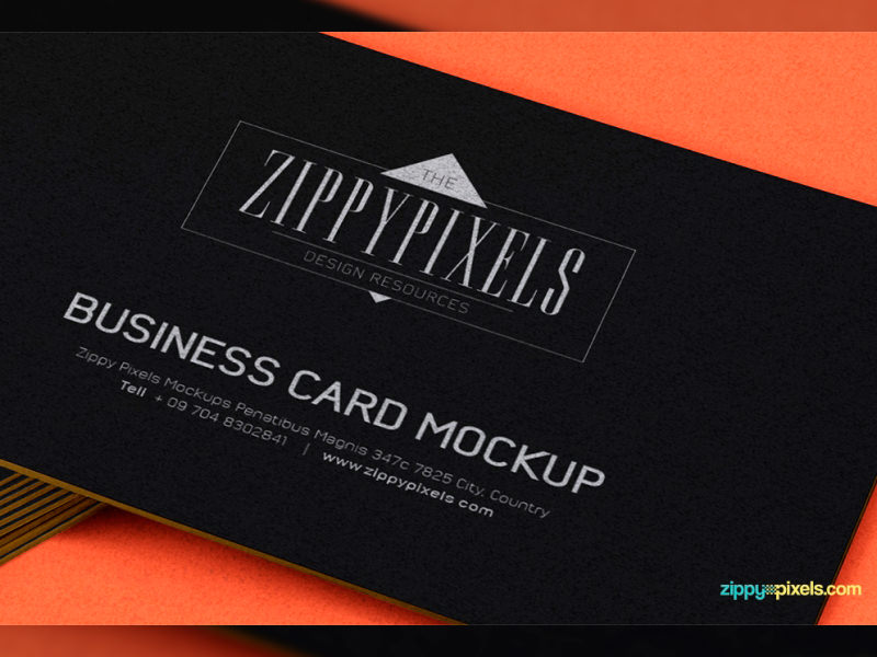 Black and Orange Business Card PSD Illustration