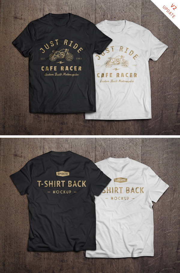 Black and White Cafe Racer T-shirt Mockup PSD :