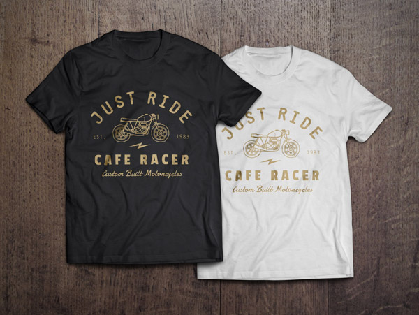 Black and White T-shirt on Wooden Table PSD