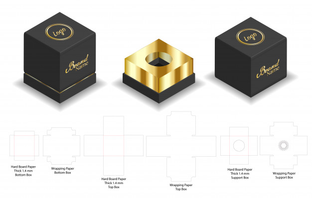 Black and golden color cardboard mockup box.