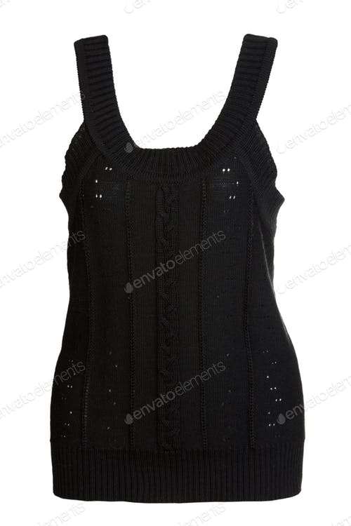 Black knitted Vest PSD Template.