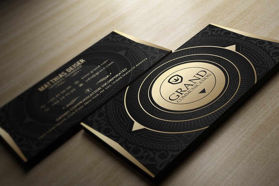 Blank And Golden Print Business Card On Wooden Floor