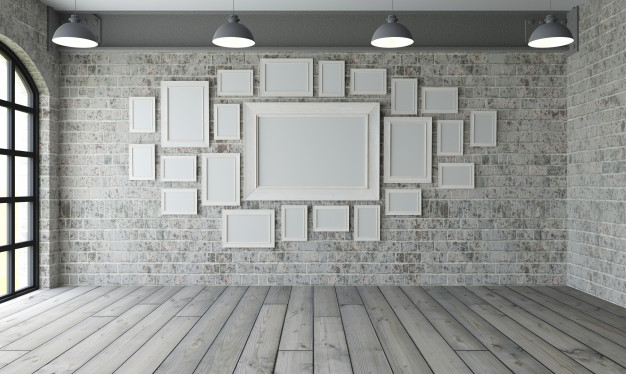 Blank Frame Attach On Wall Gallery PSD Design Template
