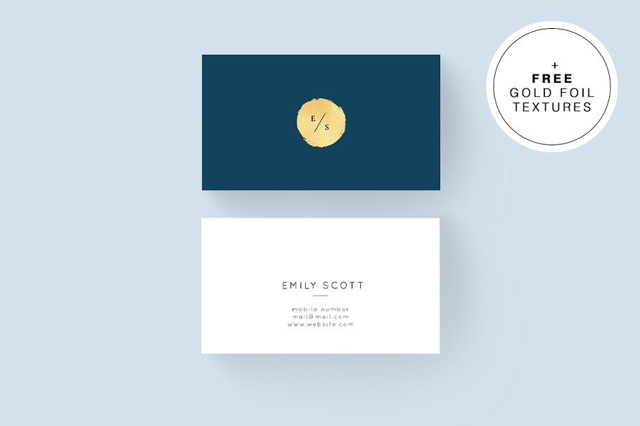 Blue And White Color Business Card With Golden Print