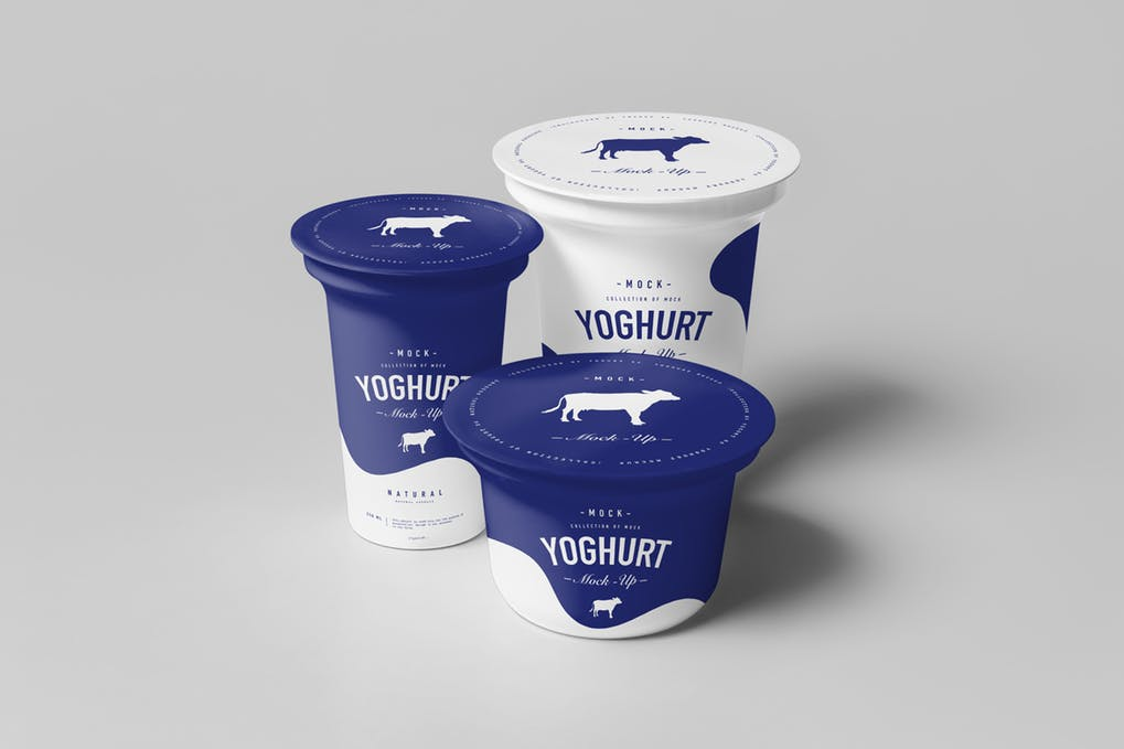 Blue And White Cups Of Yogurt Mockup