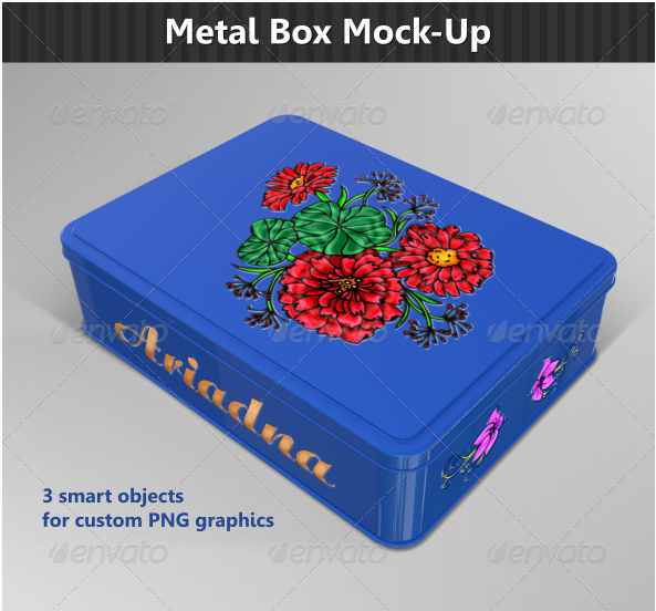 Blue Color with Floral Printed Chocolate box Mockup