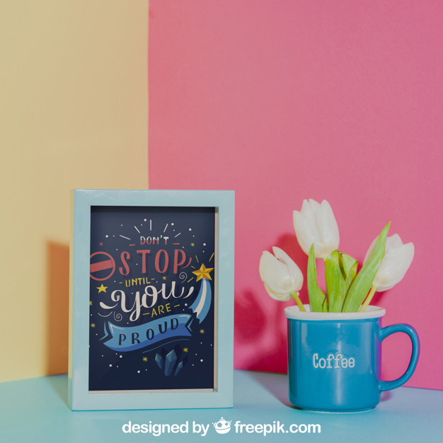 Blue Cup With Photo Frame Mockup