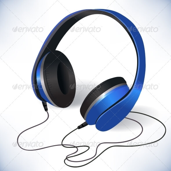 Blue Headphone PSD Mockup.