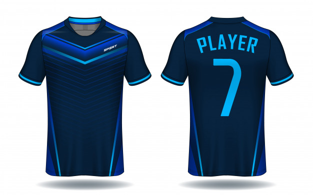 Blue Ray Printed Soccer Player T-Shirt Vector Illustration