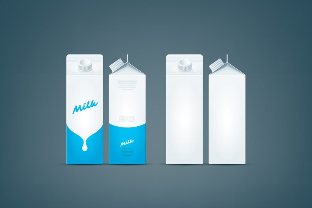 Blue Stripes And Clean White Color Milk Carton Mockup