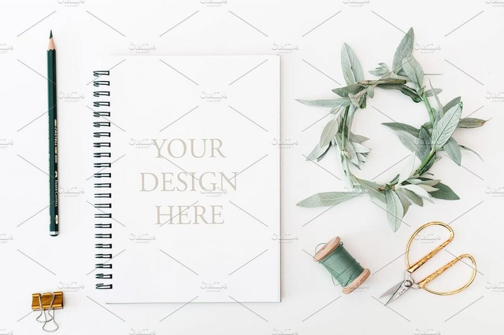 Blue and Black Color Standing Notepad & Notebook Mockup