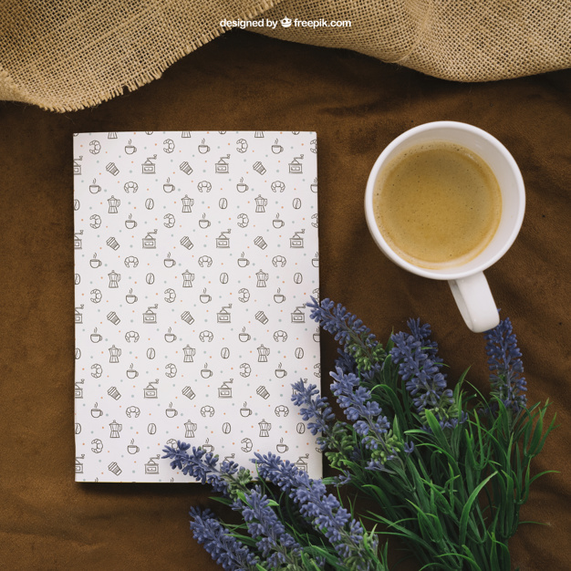 Book With Coffee And Flowers Mockup