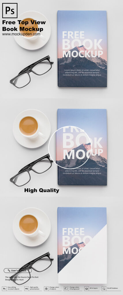 Free Top View Book Mockup PSD Template