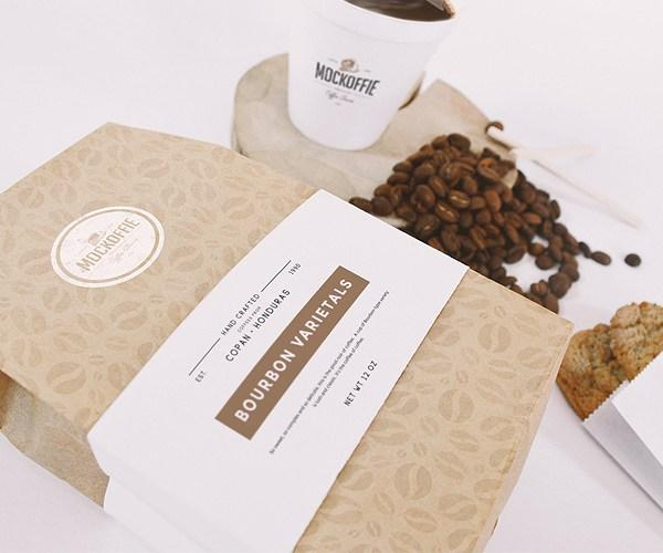 Bourbon Coffee Bag And Cup Mockup