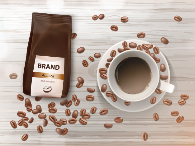 Brown Color Coffee Packet Kept On Table For Branding