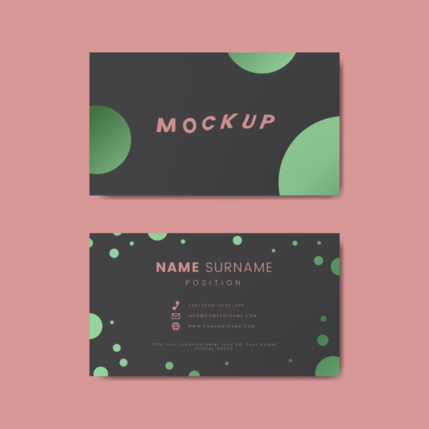 Brown Color Letterpress Business Card With Green Circle Present On It