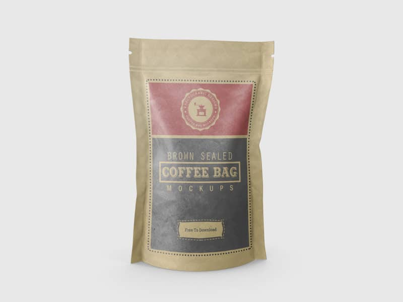 Brown Color Sealed Coffee Bag Mockup