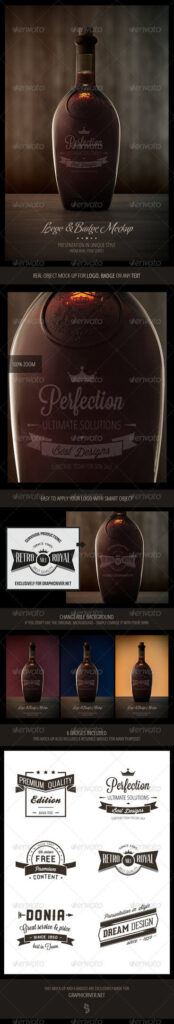 Brown Color Wine Bottle Label Design Template