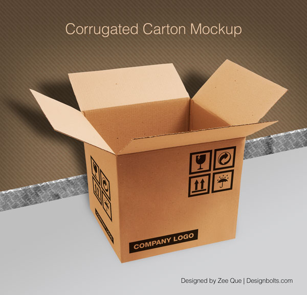 Brown PSD File Carton Mockup