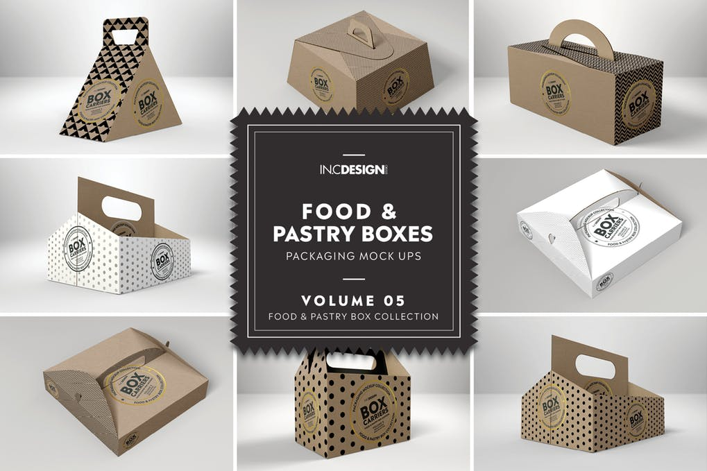 Brown color pastry box Mockup