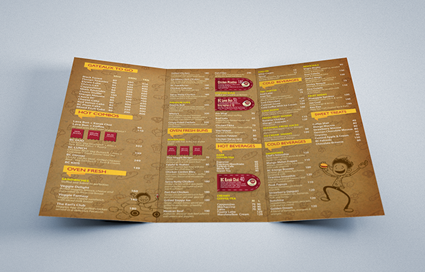 Bun Club Menu Card PSD Template Desing