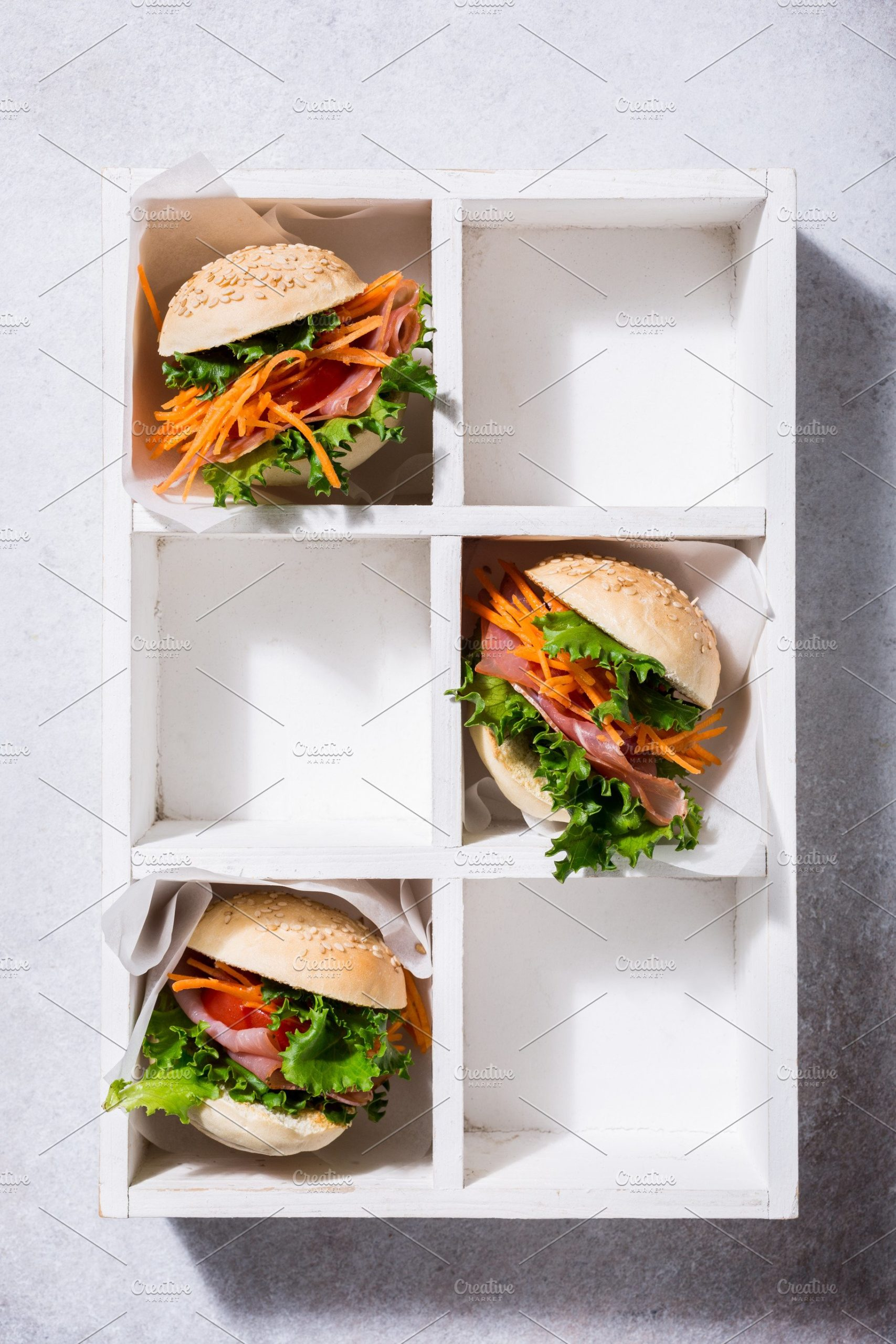 Burger Placed In A Wooden Box Mockup.