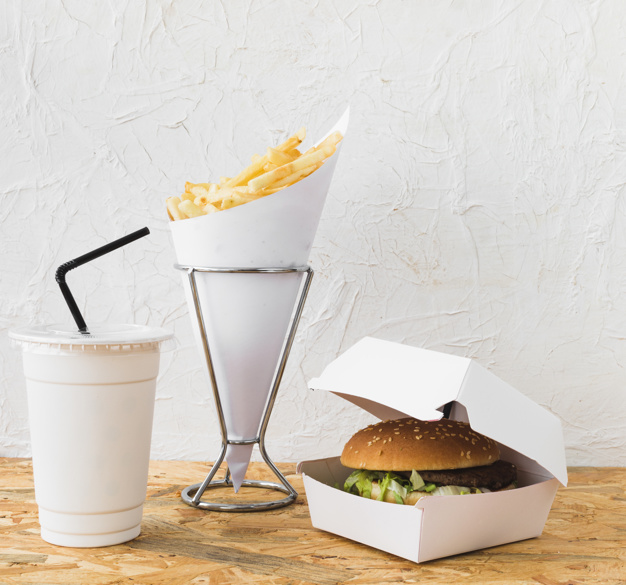 Burger and French Fries Mockup.