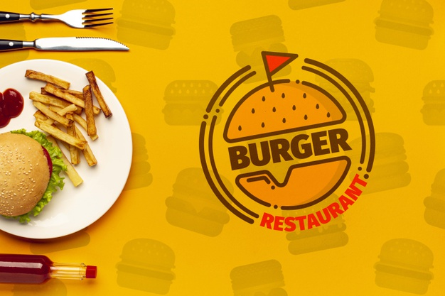 Burger restaurant and plate on fast food doodle background Free Psd