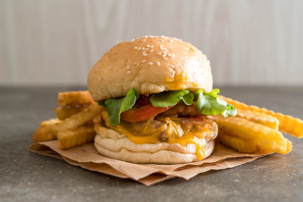 Burger surrounded with French Fries PSD