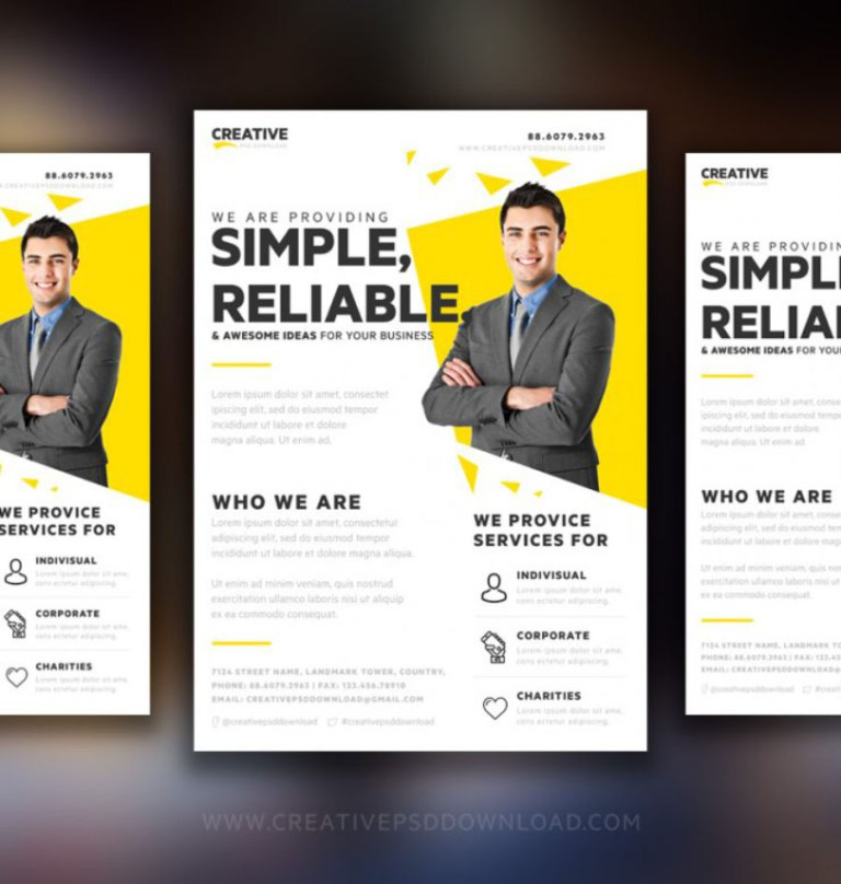 Business Man Photo Printed Simple A4 Size Free Flyer Illustration