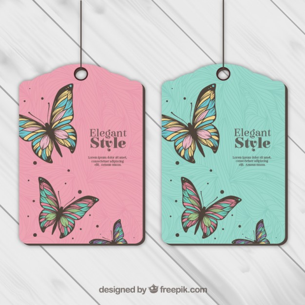 Butterfly Printed Pink And Green Color Hang Tag Vector Format