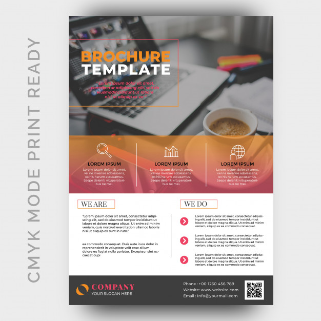 CMYK Color Mode A4 Size Brochure Template Design Mockup
