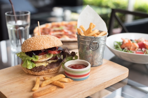 Cafe serving Burger and some other food PSD