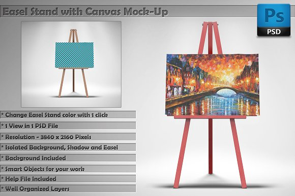 Canvas With Easel Stand Mockup