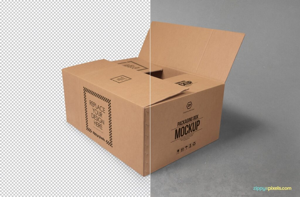 Cardboard Box For Packaging Mockup