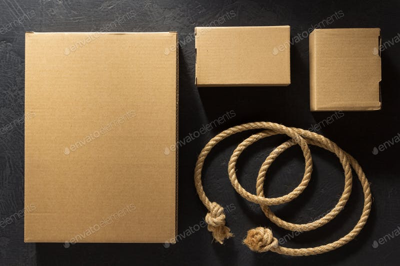 Cardboard Box With Rope Mockup