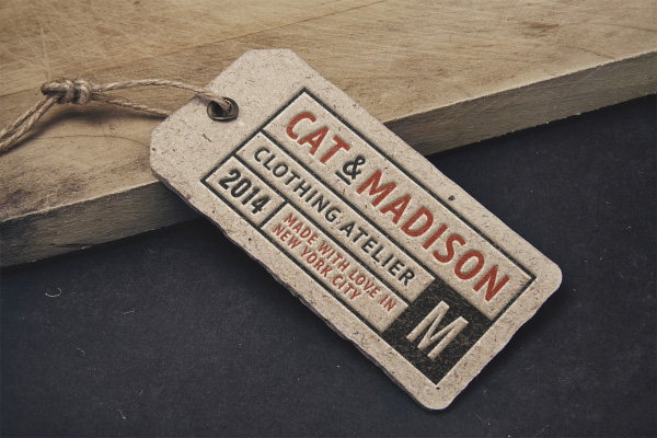 Cardboard Paper Tag With Rope On It Mockup