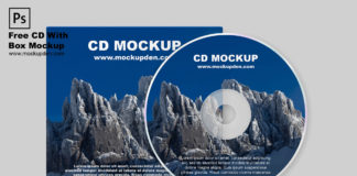 Free CD With Box Mockup PSD Template