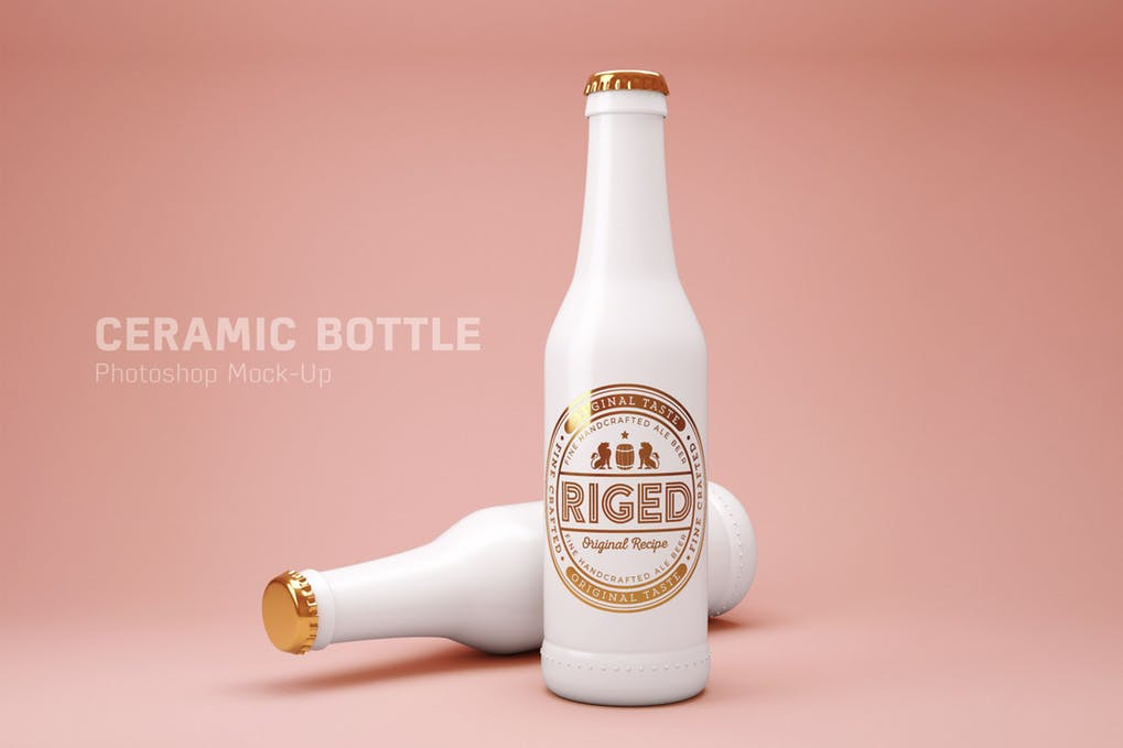Ceramic White Bottle PSD Mockup