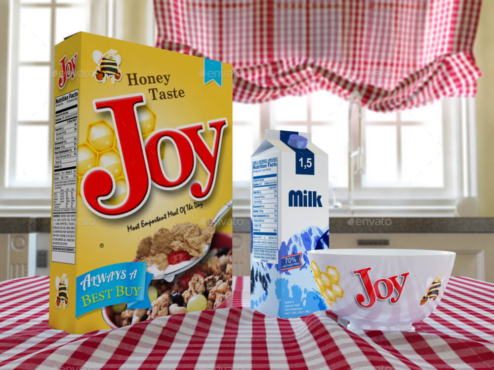 Cereal Box and Cereal Bowls and Carton of Milk Mock-Up