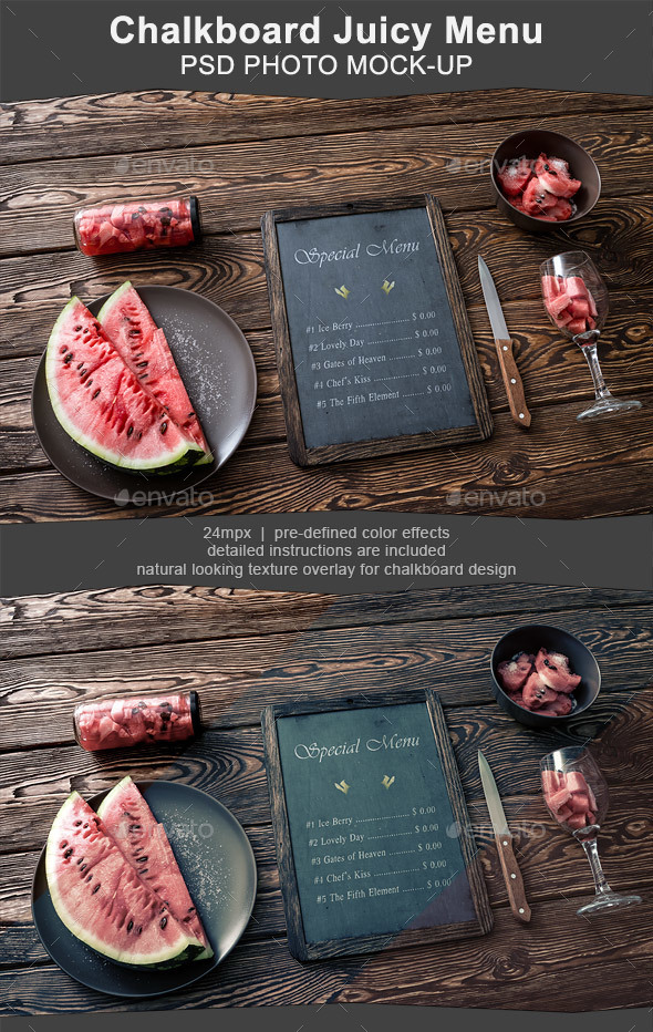 Chalkboard Menu Mockup with Juicy Watermelon