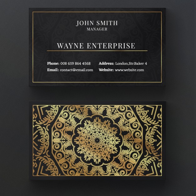 Chalkboard Theme Business Card Mockup With Thin Golden Border