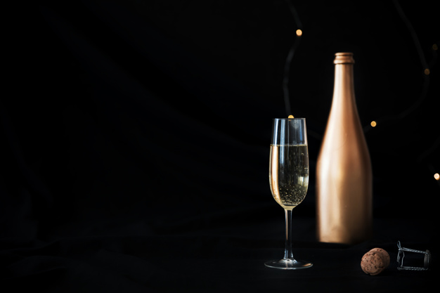 Champagne Bottle With A Glass PSD File