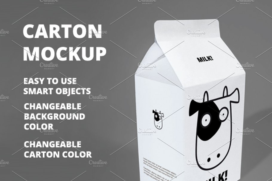 Changeable Background Milk Carton Mockup Design