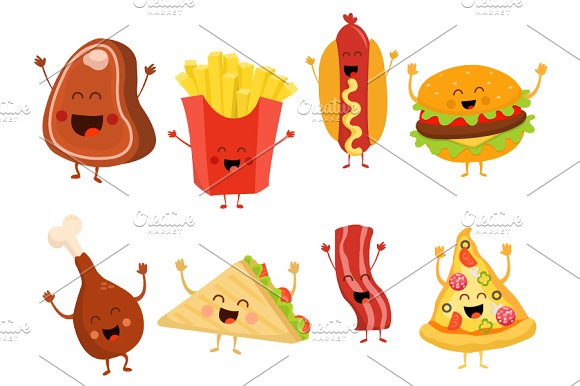 Characters of Fast Food Vector